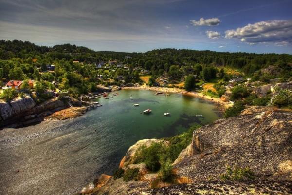 Бухта кемпинг путешествие по Норвегии
