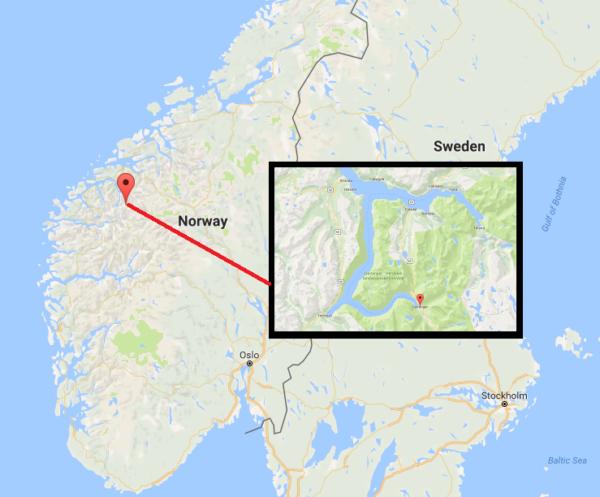 Гейрангер фьорд на карте