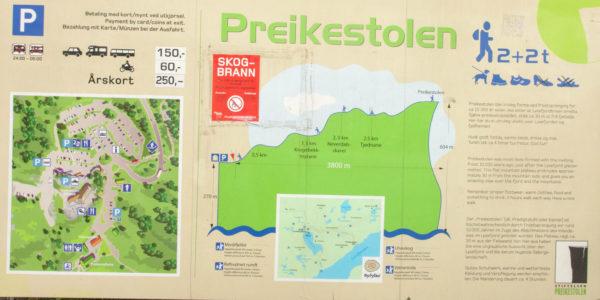 Карта маршрута на скалу проповедника Норвегия Прекестулен